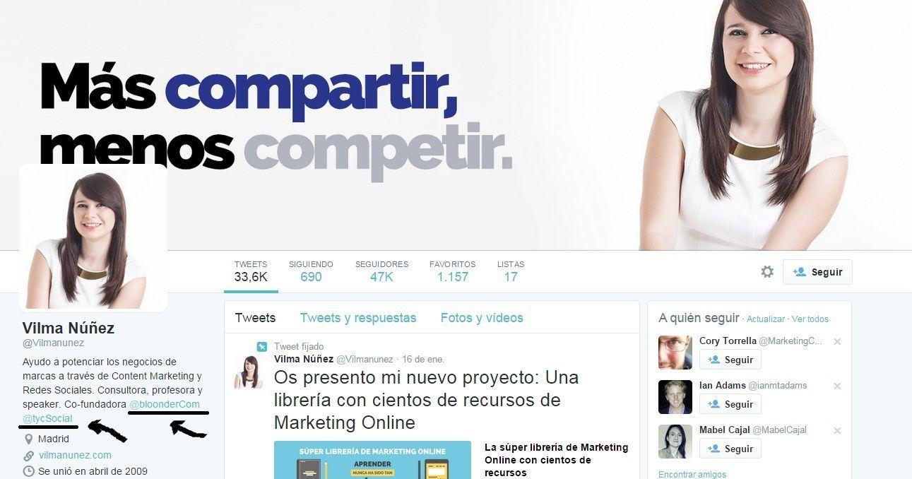 Twitter BIO Ejemplo Optimización