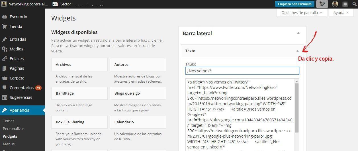 widget-texto-wordpress-redes-social