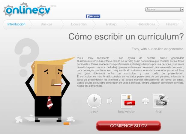 Hacer Curriculum Vitae Online con OnLineCV