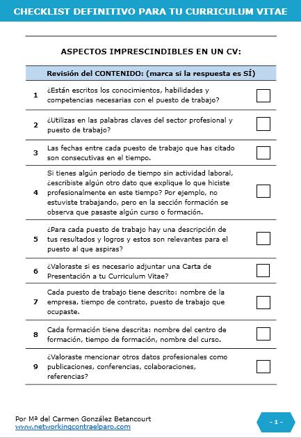 Checklist para hacer un Curriculum Vitae -2