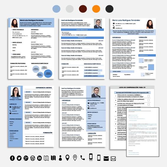 Cada Plantilla para CV está disponible en los 5 colores que se indican en la imagen.