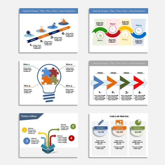 Plantillas de Powerpoint Multipropósito para crear presentaciones efectivas, propuestas de negocio, webinar, masterclass, cursos, etc.