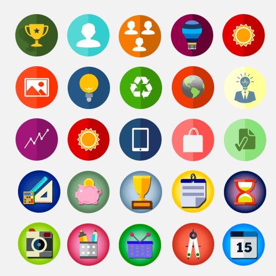 Iconos Redondos en formato PNG con variedad de diseños y colores.