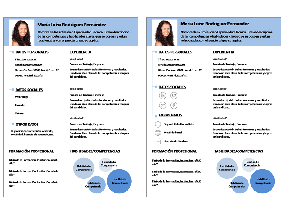 Plantillas Curriculum Vitae Infocircle (Plantillas + Iconos + Guía