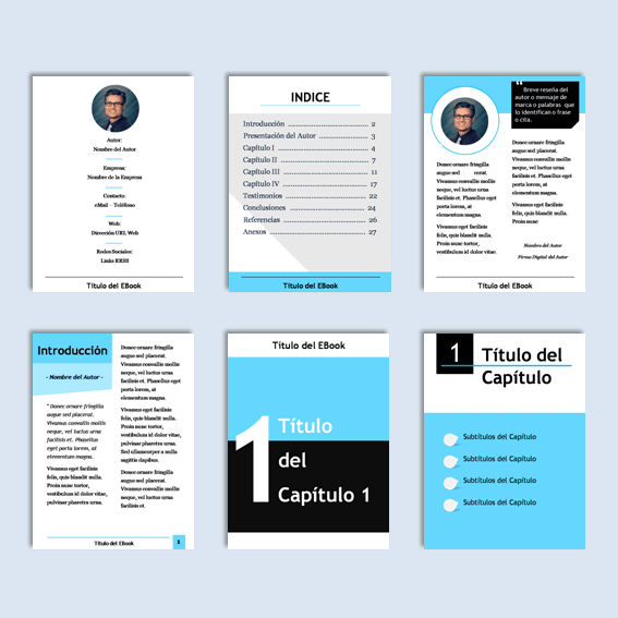 Plantillas Power Point para diseñar el contenido interno de Ebook, Guías y PDF.