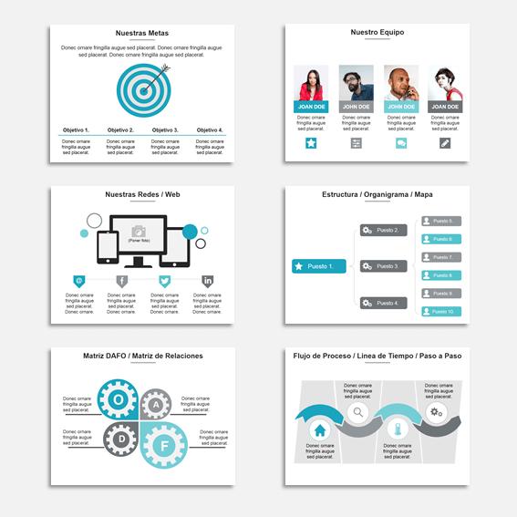 Plantilla Power Point Multiuso para Presentaciones, informes y propuestas. - 150 slide con gama de azul-gris.