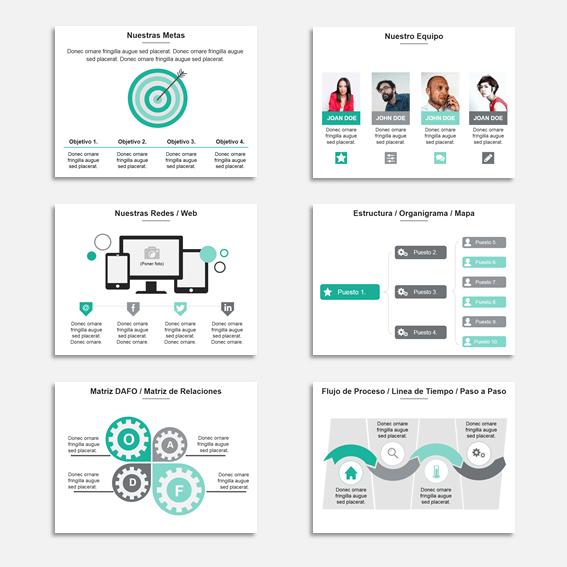Plantilla Power Point Multiuso para Presentaciones, informes y propuestas. - 150 slide con gama de verde-gris.