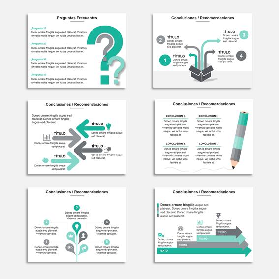 Plantilla Power Point Multiuso para Presentaciones, informes y propuestas. - 150 slide con gama verde-gris.