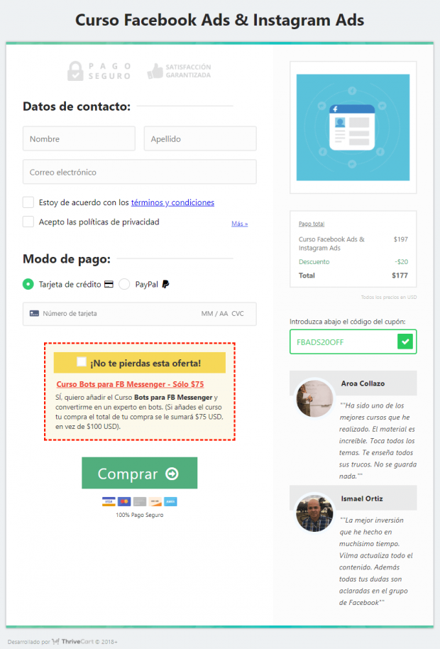Ejemplo Cross Selling como técnicas de marketing para ventas por internet